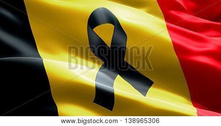 Pray For Belgium, Waving Belgium Country Flag Color Background With Black Ribbon