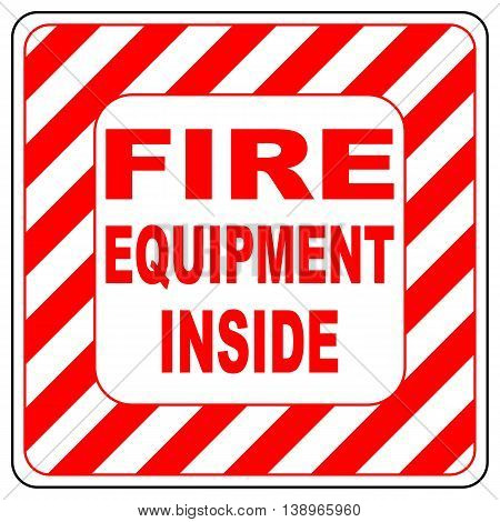 Fire equipment inside text banner vector illustration striped in white and red