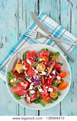 Watermelon And Tomato Salad With Feta Cheese, Overhead Scene On Rustic Blue Wood