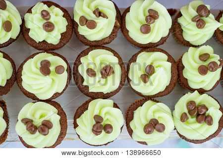 Mint Chocolate Chip Cupcakes Shot Overhead