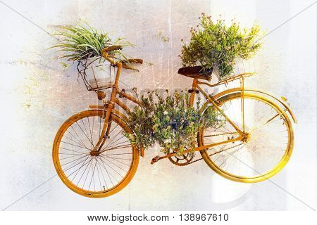charming floral street decoration with old bike. Retro picture