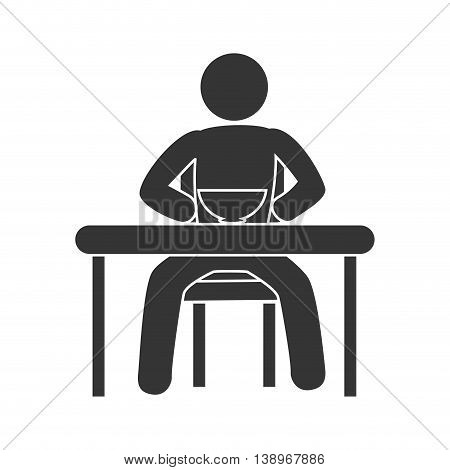 Man eating delicious food on table pictogram design, vector illustration.