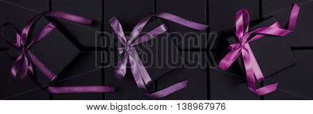 Many beautiful boxes for jewelry with purple bow