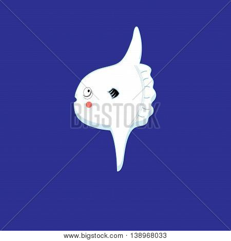 Graphic sign of white fish moon on a blue background