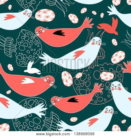 Seamless funny pattern of seals and sea of jellyfish on a dark green background