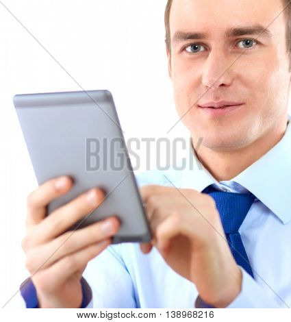 Businessman using computer plane-table