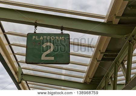 old weathered platform sign chase valley steam railway Swanage UK