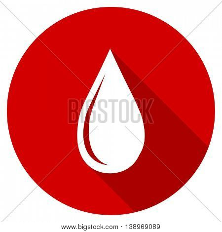 water drop vector icon, red modern flat design web element