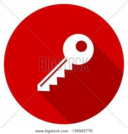 key vector icon, red modern flat design web element