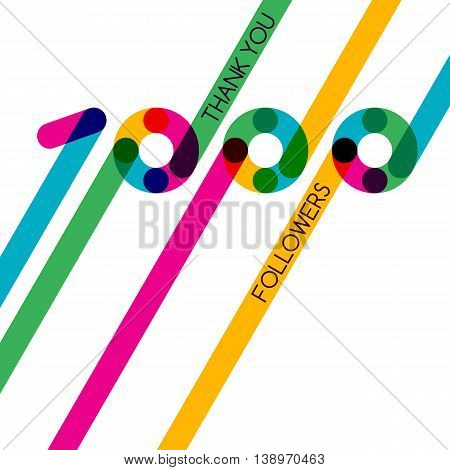 Thanks 1000 Follower, Vector Banner, Badge Or Poster For Blogs And Social Networks.