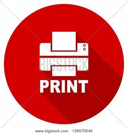 printer vector icon, red modern flat design web element