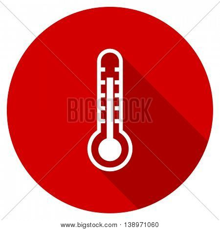 thermometer vector icon, red modern flat design web element