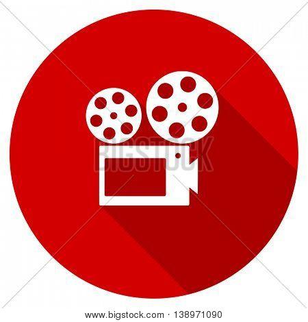 movie vector icon, red modern flat design web element