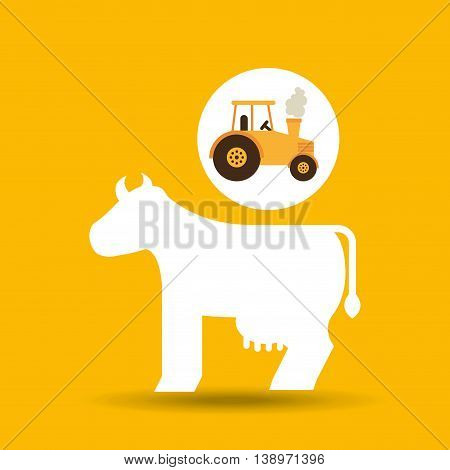 farm countryside tractor cawler isolated, vector illustration