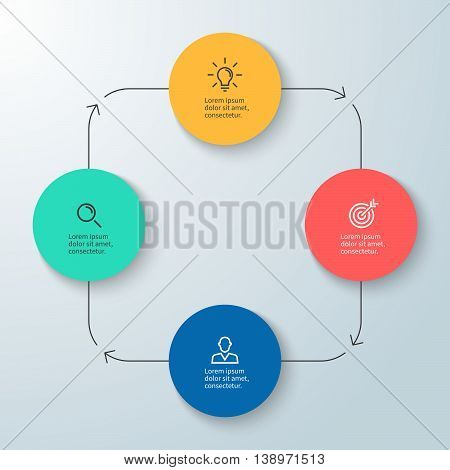 Business infographics. Minimalistic diagram, chart, graph with 4 steps. Vector design element.