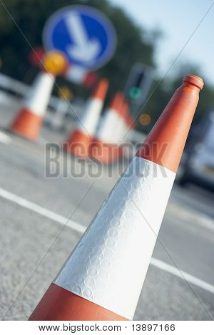 Traffic Cones Lined Up On The Side Of The Road