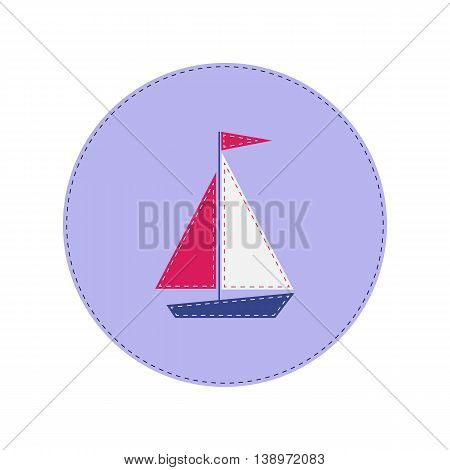 ship with red and white sails stitched applique
