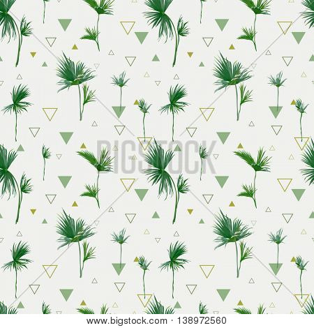Seamless Pattern. Tropical Palm Leaves Background. Geometric Abstract Texture. Vector.