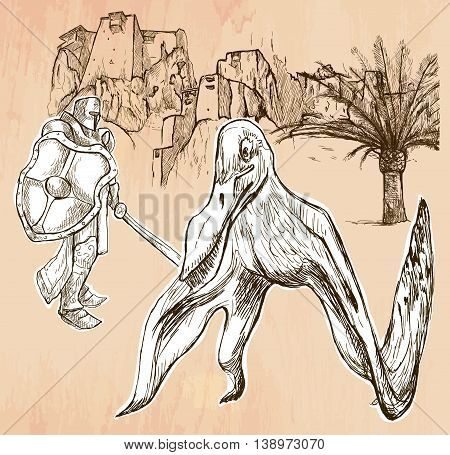 A Knight slaying the Dragon (Pterosaur). Freehand sketching line drawing. An hand drawn vector illustration. Colored background is isolated. Line drawing technique. Vector is easy editable.