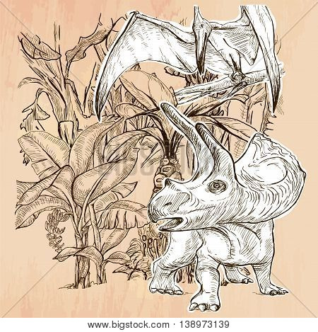 Dino. DINOSAURS Triceratops and Pterodactylus in the bush. Life in the prehistoric time. Line drawn. An hand drawn vector illustration. Colored background is isolated. Technique Line art drawing.