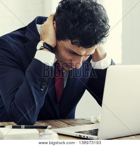 Stressed  Businessman Workplace Laptop Concept