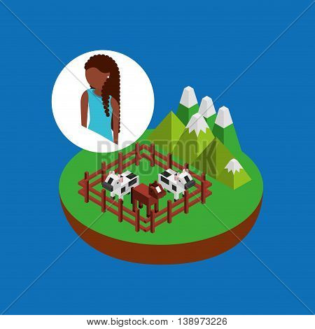 farm countryside people isolated, vector illustration eps10