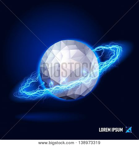 Poligonal sphere surrounded by a stream of blue energy in the space