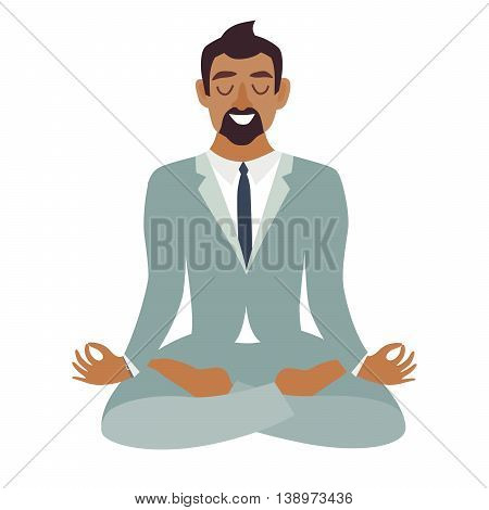 Businessman meditating. Business concept. Concept of calm business work at office. Happy worker. Businessman in yoga pose lotus position. Business relax. Cartoon style vector illustration isolated on white background