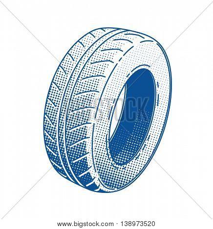 Car tire rubber wheel vector illustration service automobile part