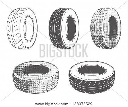 Car tire rubber wheel set of vector illustration service automobile part