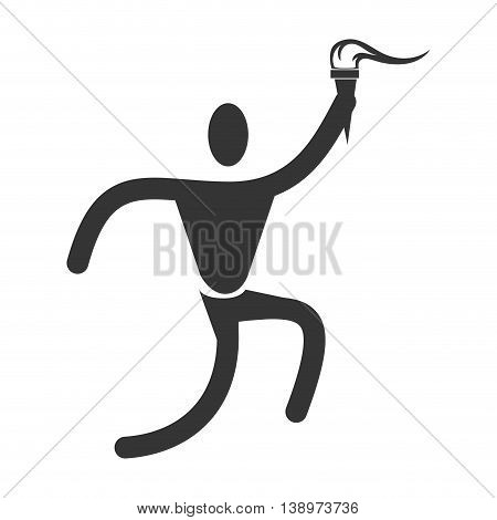 Man trainning sport pictogram isolated flat icon, vector illustration.