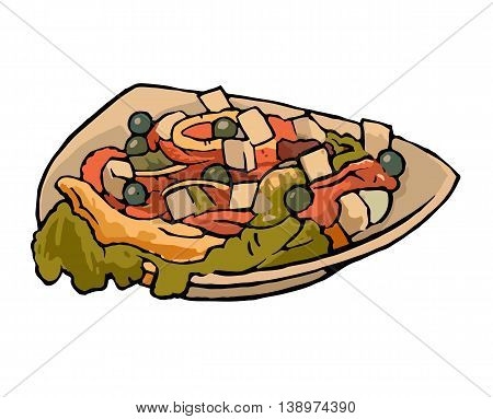 Greek vegetable salad with tomatoes feta cheese black olives peppers on plate. Color vintage vector illustration.