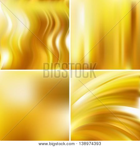 Set Of Four Square Backgrounds. Abstract Vector Illustration Of Colorful Backdrop With Blurred Light
