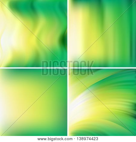 Set Of Four Square Backgrounds. Abstract Vector Illustration Of Backdrop With Blurred Light Waves. C