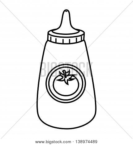 Delicious ketchup in bottle isolated flat icon, vector illustration.