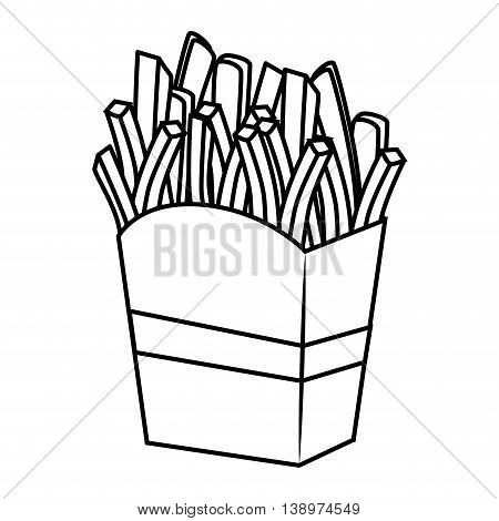 Delicious french fries fast food isolated flat icon, vector illustration.