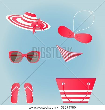 set of flat vector beach accessories red and white