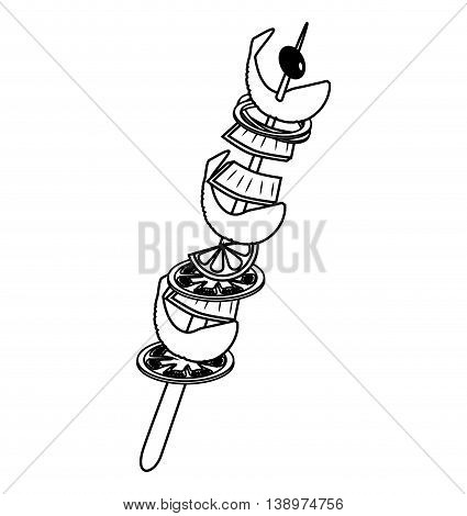 Delicious meat brochette fast food isolated flat icon, vector illustration.
