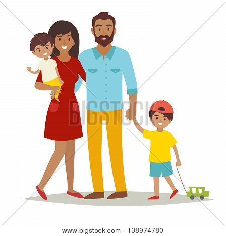 Happy family with kids. Cartoon caracters African American mother, father and brothers. Flat style vector illustration isolated on white background