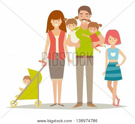 Happy family with twins kids. Cartoon characters: mother, father, brother, sisters and twins. Flat style vector illustration isolated on white