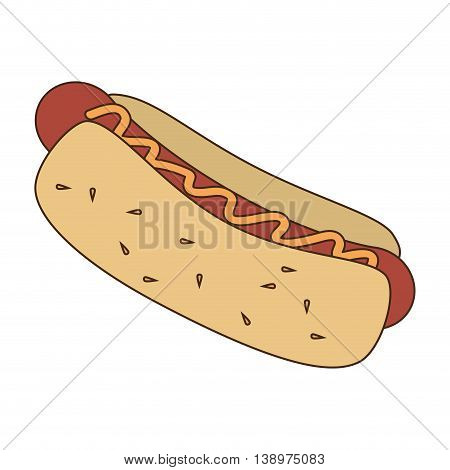 Delicious hot dog fast food isolated flat icon, vector illustration.