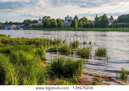 VELIKY NOVGOROD RUSSIA - JULY 17 2016. Architecture panoramic landscape view of Novgorod Kremlin fortress and St Sophia cathedral on the bank of the Volkhov river - summer architecture landscape