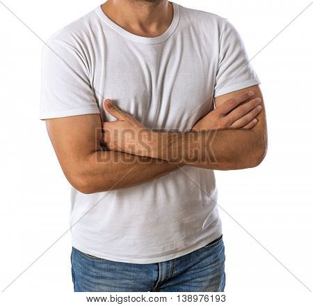 Man wearing blank t-shirt isolated on white background -Clipping Path