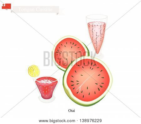 Tongan Cuisine Watermelon Otai or Traditional Drink Made From Watermelon and Coconut Milk. One of The Most Famous Drink in Tonga.
