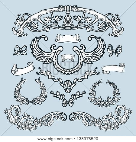 Laurel wreaths, banners, branches set. Hand drawn design elements. Decorative elements at engraving style.
