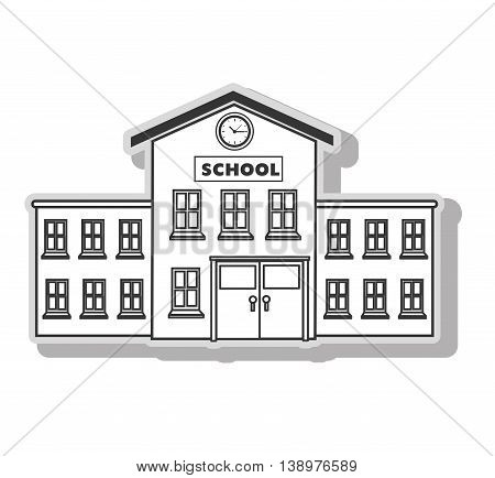 School building architecture in black and white colors, isolated flat icon.