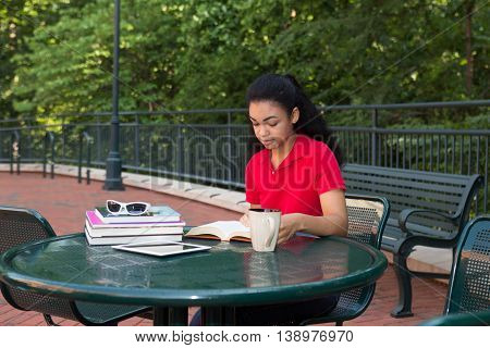 College student studying on a university college campus