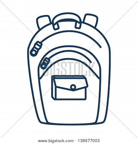 school backpack utensil blue icon, isolated flat design