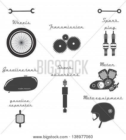 Big set of vintage parts for the bike. Vector Illustration