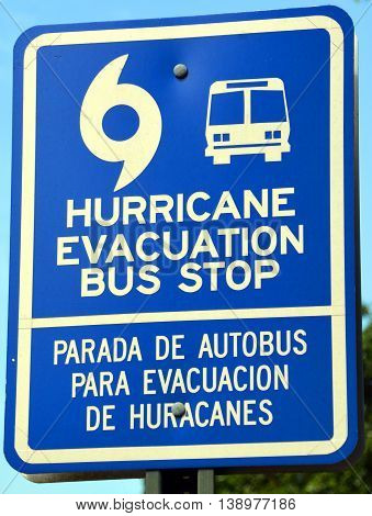 CHARLESTON SC USA JUNE 27 2016: Blue signs that state Hurricane Evacuation Bus Stop. The signs will be posted for residents who don't have transportation in the event of a mandatory evacuation.